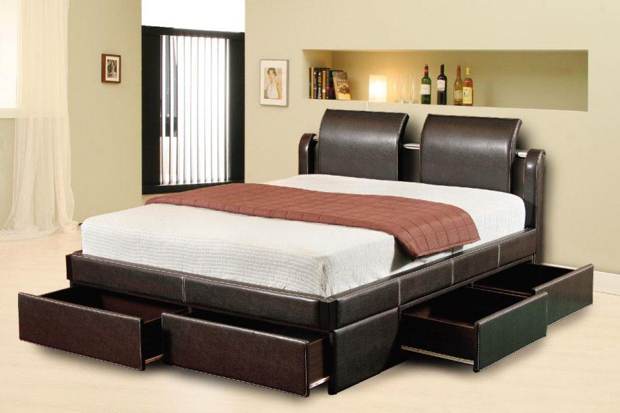 Кровать с ящиками для хранения Wave