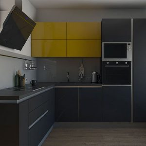 Темно-серая кухня с ярким акцентом