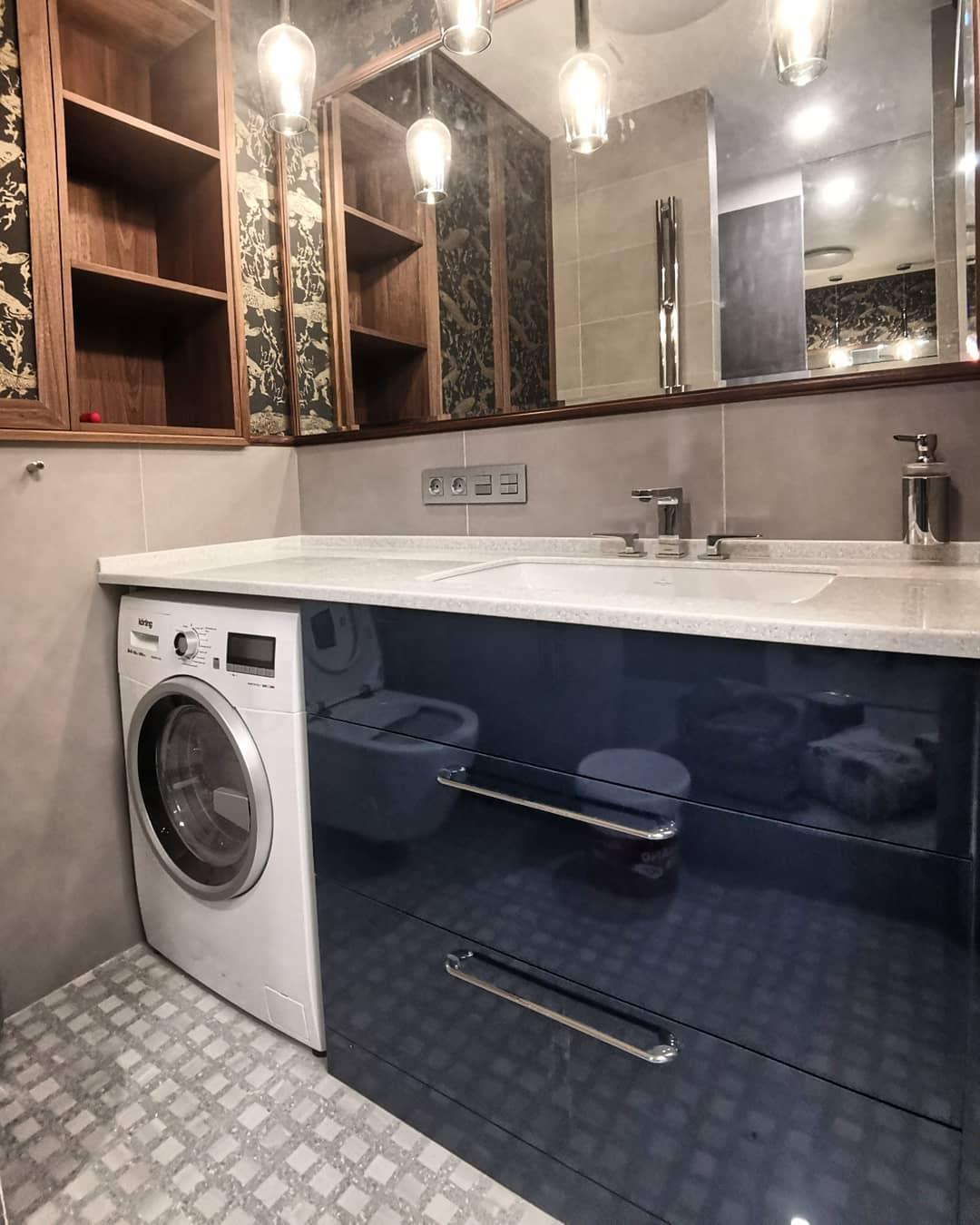 Функциональная тумба для ванной комнаты со столешницей CORIAN