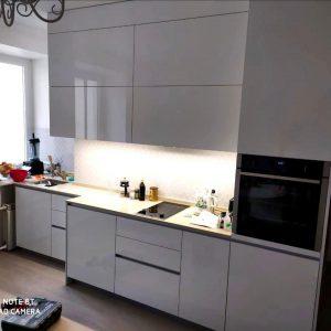 Белая глянцевая кухня в современном стиле